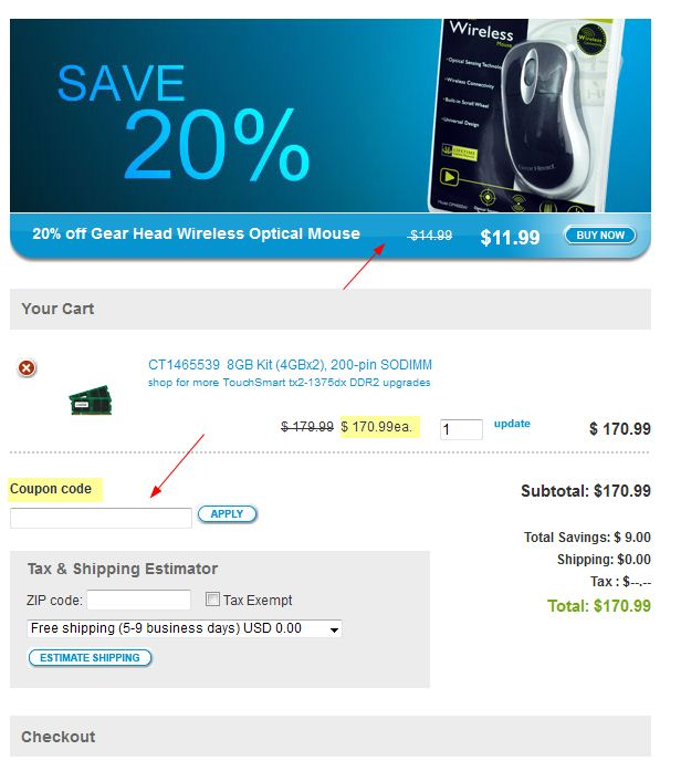 View Crucial Deals How to Use Coupons and Codes. The current Crucial Memory coupons are right here! Click on the coupon deal you want, then use the coupon code at checkout to get more computer memory for your money.