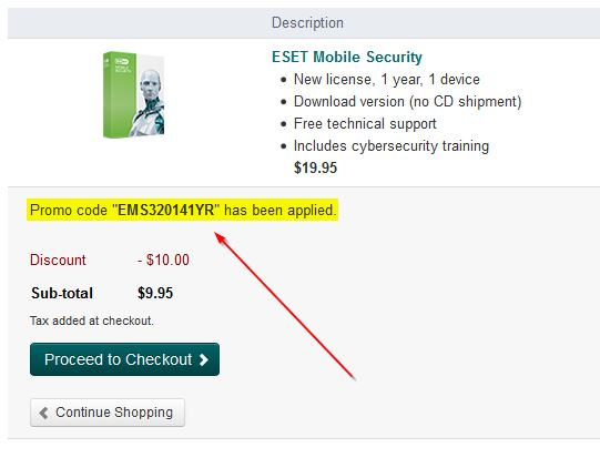 ESET area to enter code