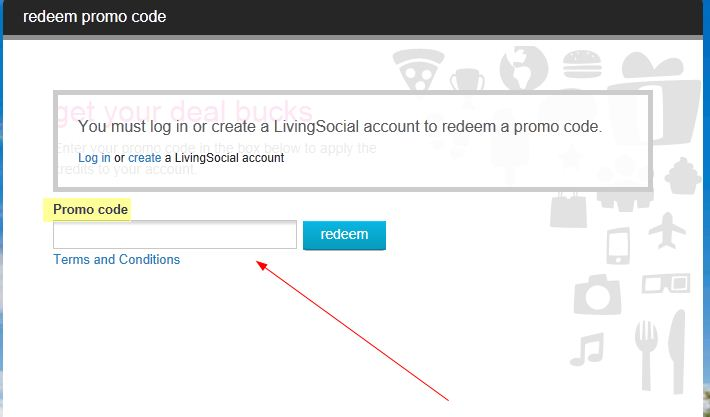 LivingSocial area to enter code