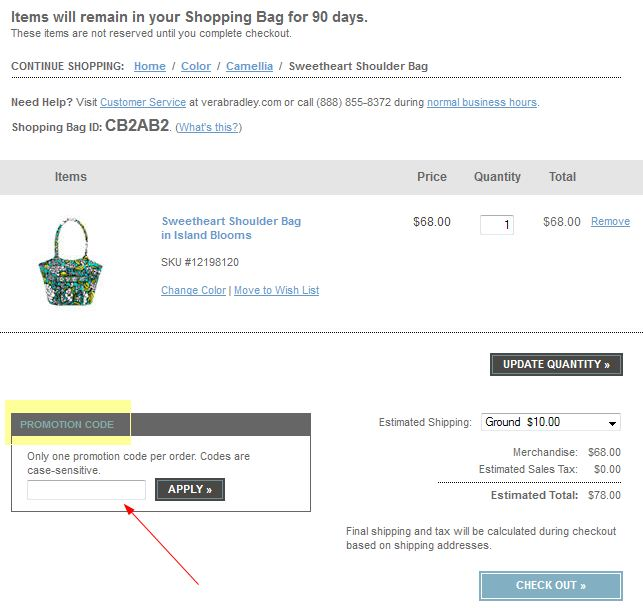 VeraBradley.com coupon promo code printable instructions