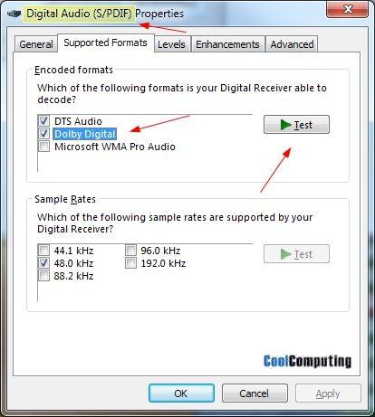 Fix for Windows 7 AC3 Dolby Digital Problem | CoolComputing