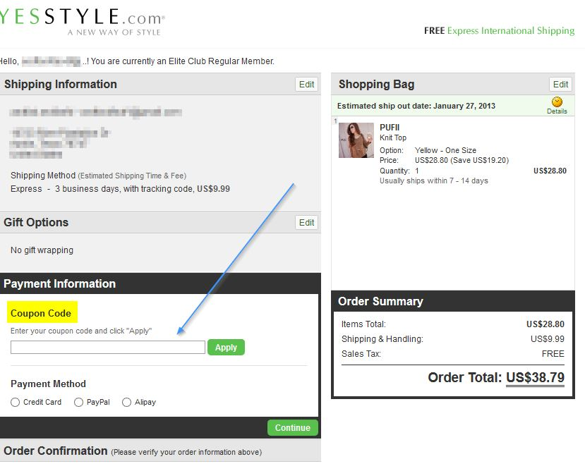 Yesstyle coupon code