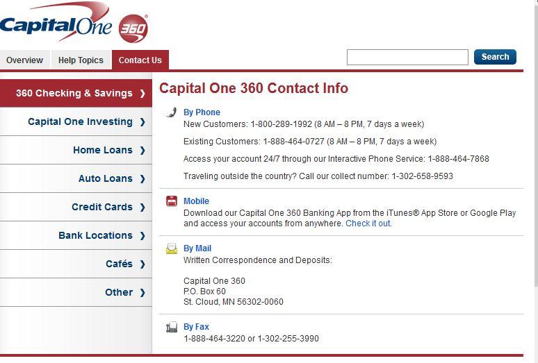 capital one 360 customer service